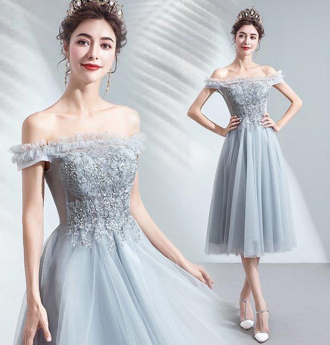 新年婚禮禮服婚紗禮服宴會禮服優雅名媛灰色宴年會舞臺演出短款婚紗小禮服伴娘服