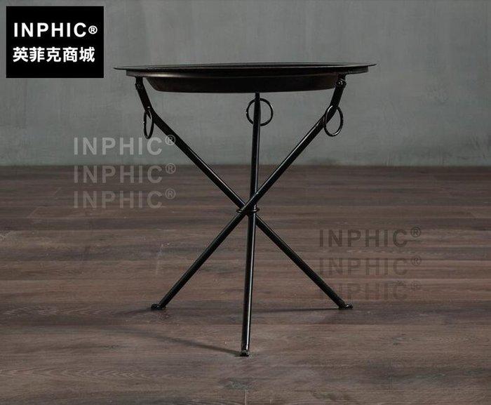 INPHIC-工業風個性鐵藝黑茶几 北歐美式鄉村圓形托盤支架沙發邊几_S1910C
