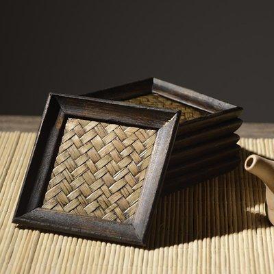 泰國進口東南亞家居竹編芒果木餐墊杯墊禮品六件套小杯墊101137