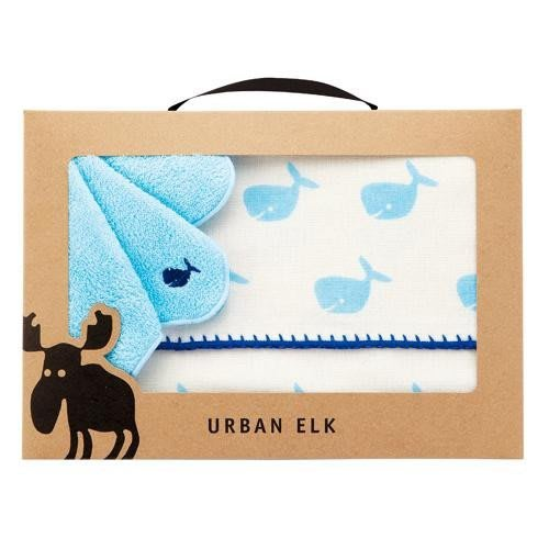 【新貨到】北歐設計URBAN ELK 100%有機棉寶寶毛巾、小方巾禮盒組(麋鹿/鯨魚任選)