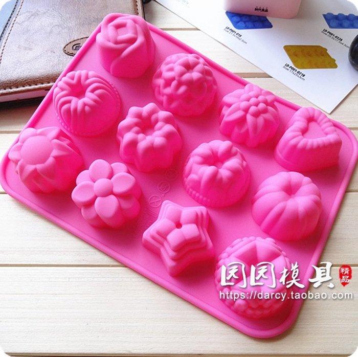 千夢貨鋪-12連花草甜點慕斯蛋糕裝飾果凍巧克力手工皂食品級硅膠烘焙模具#手工皂#香皂#製作材料#去螨蟲#清潔