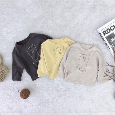 1918 童裝新品中小童純棉長袖T恤韓版小熊印花上衣純色T恤潮T