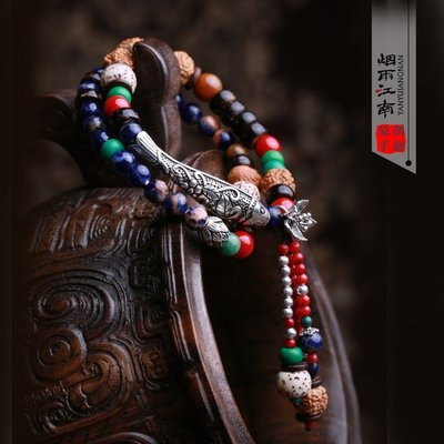 ❦愛飾☚煙雨江南手鏈泰銀波西米亞佛教飾品菩提手串菩提星月高密青金石女 ZB3526