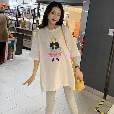 Little-Luck~時尚款潮媽裝2019夏季新款孕婦兩件套夏裝純棉短袖t恤大碼中長款