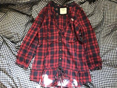 Abercrombie&Fitch 紅色格紋圓領七分袖 休閒襯衫