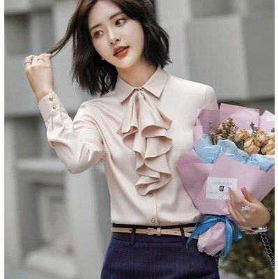 韓系氣質時尚蝴蝶結領雪紡襯衫上衣