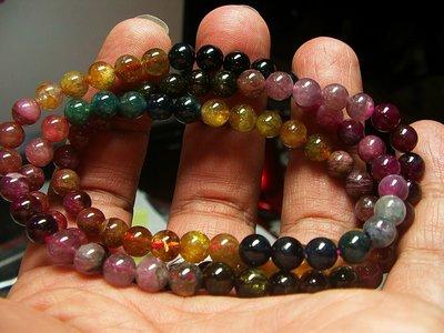 **結緣水晶**嚴選優質品項,漂亮又便宜的彩色碧璽串珠繞圈手鍊,項鍊,重量33.6公克,全館特賣免運費(6)