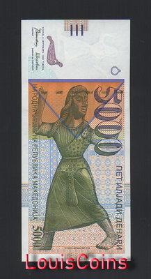 【Louis Coins】B688-MACEDONIA-1996馬其頓紙幣,5.000 Denari