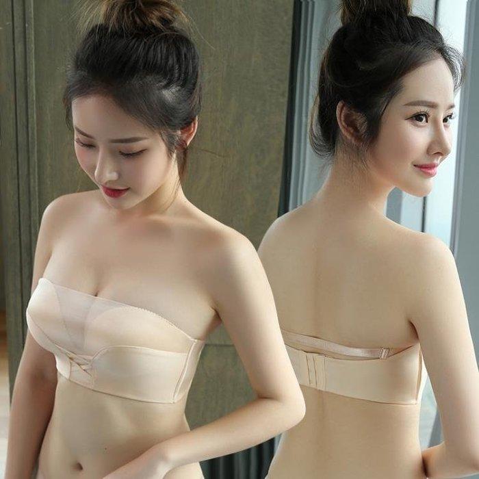 內衣 無肩帶防走光裹胸式加厚小胸罩聚攏文胸抹胸隱形防滑上托女AMXP