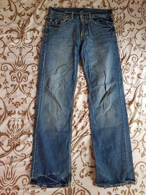 全新 美國 Polo Jeans 藍色 刷色 牛仔褲 排扣款 丹寧 中直筒 -降