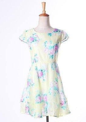 氣質清新碎花修身連身裙 洋裝