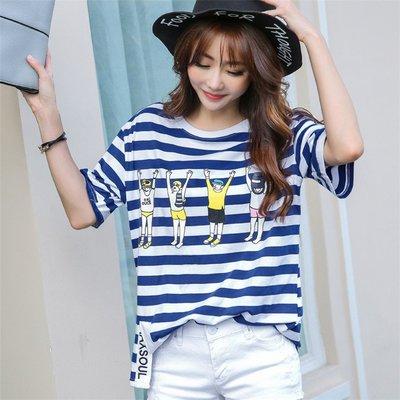 =EZZ=韓國首爾 時尚精品 東大門同步 巴巴菲絲17256 韓版T恤 大碼女裝T恤 潮流女T 寬鬆短袖T恤