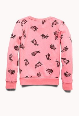 ╭*喬喬屋*╯[Forever 21 Girls ]現貨@童裝@ Quirky Bunny 兔子圖案刷毛短版上衣XL