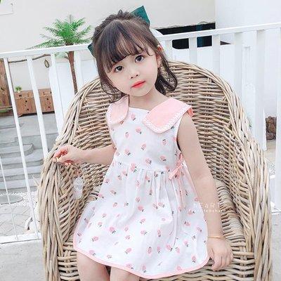 【媽媽倉庫】日系草莓印花寬領洋裝 童裝 裙子 洋裝