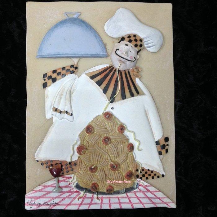 點點蘑菇屋{璧飾}美國 new view拉麵廚師壁掛畫 立體浮雕 掛飾 壁磚