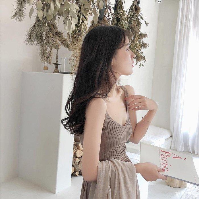 韓版性感冰絲吊帶背心女夏外穿學生短款無袖針織打底衫上衣