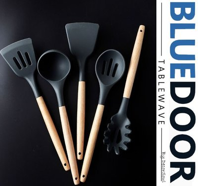 BlueD_ 食品級 耐熱 矽膠 木柄 鍋鏟 湯勺 炒瓢 湯瓢 漏勺 鄉村北歐風 廚用無毒不傷鍋 創意設計裝潢 新居入遷