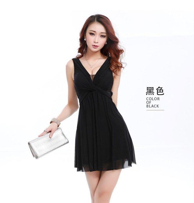 ❤QQ SHOP❤韓版 夜店性感 無袖 V領透紗低胸 胸前扭轉  顯瘦 下傘洋裝