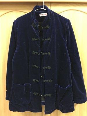 。☆二手☆。Why&1/2正品中國風鋪棉外套(17號-165cm)//深藍絨//成人可穿