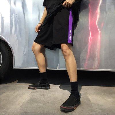 韓國夏季新款復古原宿ulzzang拼色拼接休閑百搭刺繡字母 短褲女潮