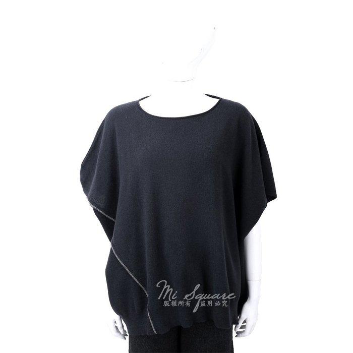 米蘭廣場 FABIANA FILIPPI 喀什米爾捲邊細節深藍色棕美麗諾羊毛罩衫 1810035-61