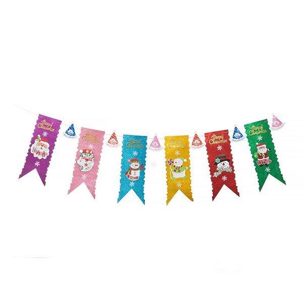節慶王【X125102】串旗-聖誕長旗六彩,聖誕佈置品/聖誕節紙品/串旗/掛飾/吊飾