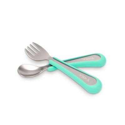 【現貨】QB選物 ❤ VIIDA ❤  抗菌不鏽鋼叉匙組-湖水綠