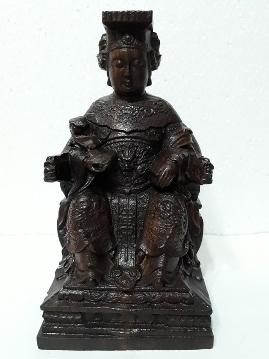 【九龍藝品】沉木雕 ~ 天上聖母((媽祖娘娘)) ~ 高約18.1公分  (3)