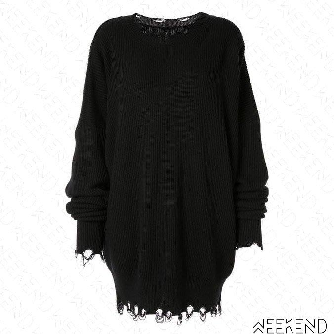 【WEEKEND】 UNRAVEL 破壞 針織 寬鬆 長版 上衣 短裙 黑色