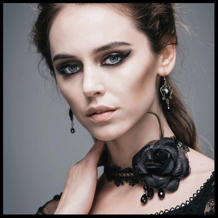 *mini PUNK LOLO*歐洲中古世紀-月光奏鳴曲安妮公主玫瑰蕾絲黑寶石造型頸飾(AS025)LOLITA