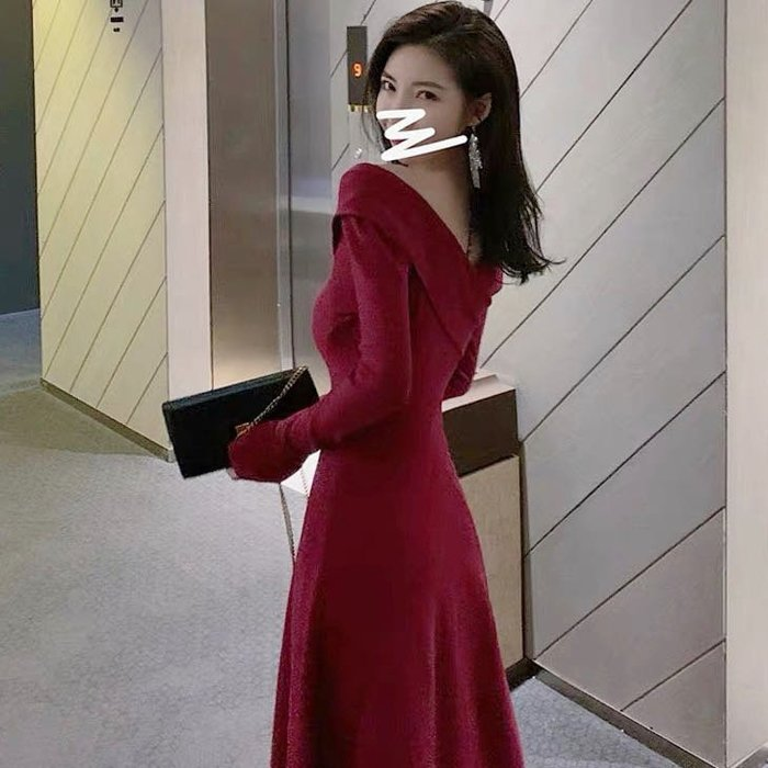 *Angel  Dance*新年紅🎈長袖洋裝(2色)@韓國 小香風 前後雙V領 小性感 針織 毛衣 小禮服@現貨+預購