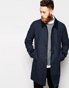 現貨 ASOS 長大衣 Trench Coat With Contrast Collar And Cuff SZ:L