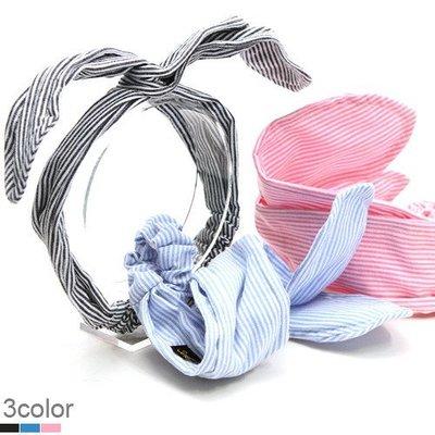 BHI1194-法國品牌RenaChris 韓國布藝可愛條紋兔耳朵髮圈 髮帶【韓國製】