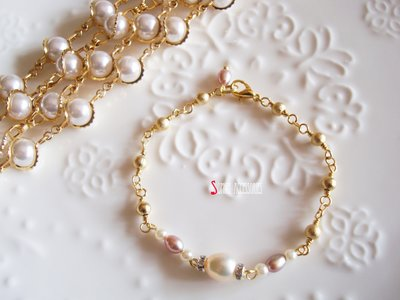 Sophia accessories 【人魚公主的淚珠 】 質感珍珠手鍊  手作&私飾  輕珠寶 黃銅飾品
