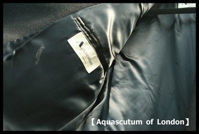正統英倫學院風【Aquascutum of London】雅格獅丹100%頂級CASHMERE 極黑雙排扣正式長大衣