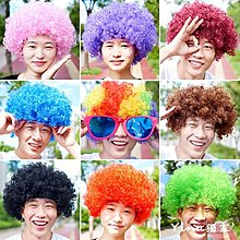 Yina 獨家'萬聖節小丑假髮頭套彩色爆炸頭七彩兒童表演道具搞笑頭套演出發套
