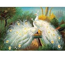 歐式白孔雀床頭沙發背景餐廳玄關裝飾畫