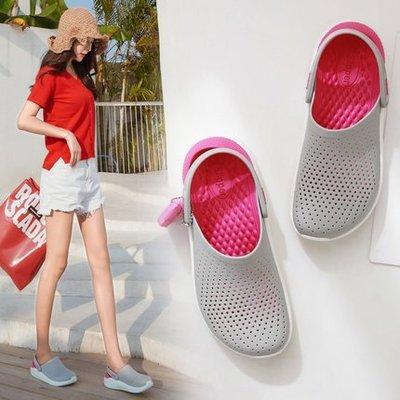 全館特惠 Crocs卡駱馳 夏季新款 LiteRide克駱格 透氣涼鞋 布希鞋 男女拼色漸變 洞洞鞋 舒適輕便 多色現貨