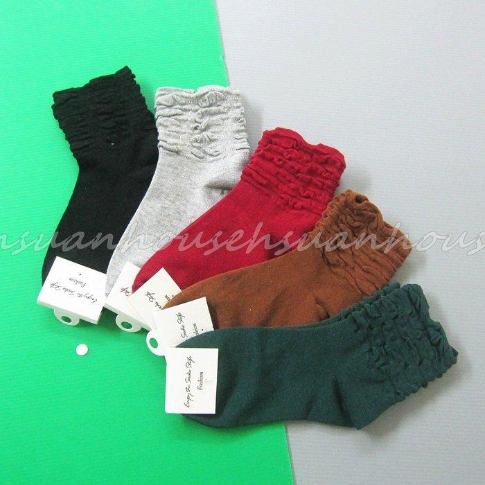 韓國 素色 紅色 綠色 灰色 堆堆襪 短襪 襪子