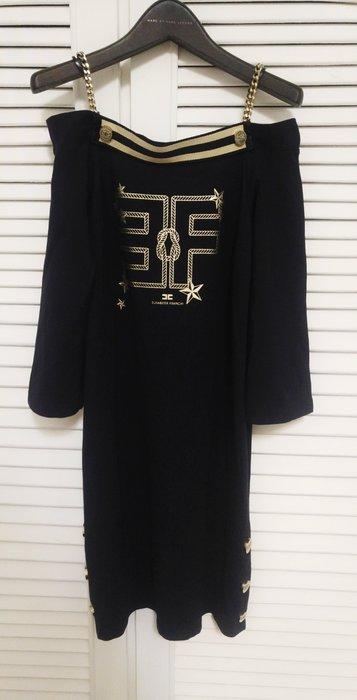 原價十萬 Elisabetta Franchi 海軍藍金鍊肩帶長袖洋裝