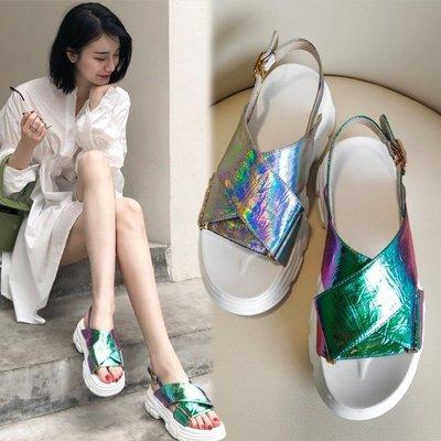 Fashion*真皮5CM厚底涼鞋 幻...
