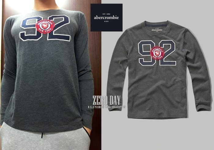 a&f abercrombie&fitch kids guys boy logo graphic tee麋鹿長袖T-灰