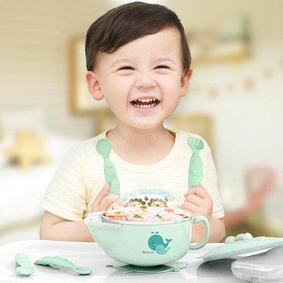 〖全館免運〗兒童餐具寶寶注水保溫碗嬰兒輔食碗嬰幼兒不銹鋼防摔吸盤碗勺套裝兒童餐具  【千鸟格居家馆】