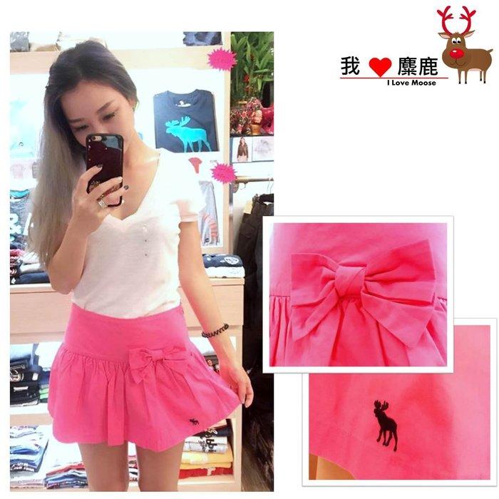 A&F Abercrombie & Fitch WOMEN 桃紅 蝴蝶結 造型短裙 我愛麋鹿 AF 東區正品專賣店