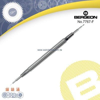 【鐘錶通】B7767-F《瑞士BERGEON》全鋼雙頭錶耳叉 -1.0mmV字針頭+0.8針沖 ├錶帶工具/6767┤