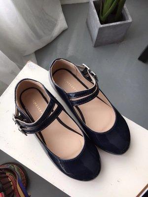 27-36碼 歐洲Reserved 深藍色水鑽釦漆皮娃娃鞋 368元