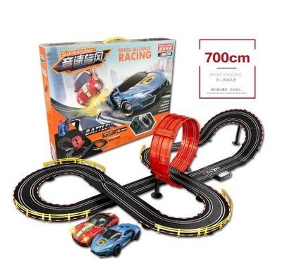 『格倫雅品』兒童軌道賽車功能同手搖發電路軌混合動力道賽車遙控軌道雙人玩具