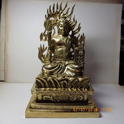 紫晶宮***銅精雕鎏金不動明王含背光33公分***品質保證價格便宜