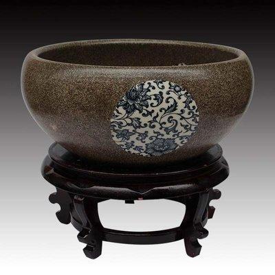 景德鎮陶瓷魚缸青花養金魚缸睡碗蓮盆荷花缸烏龜缸盆客廳擺件
