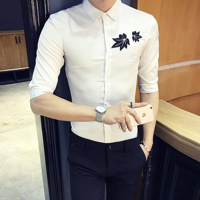 型男風 現貨 店主風2019夏季韓版簡約襯衫楓葉襯衣中袖五分袖半袖衫 實拍 免運